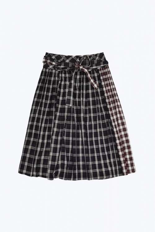 Plaid Belt Skirt