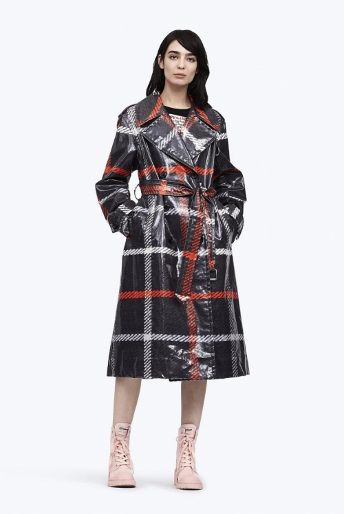 Plaid Belted Trench